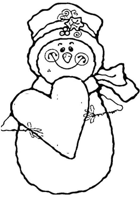 Snowman Coloring Pages Holding Love Heart