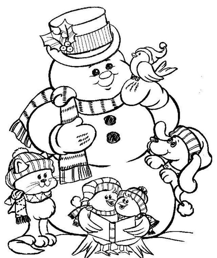 Snowman Coloring Pages To Print For Christmas Christmas Coloring