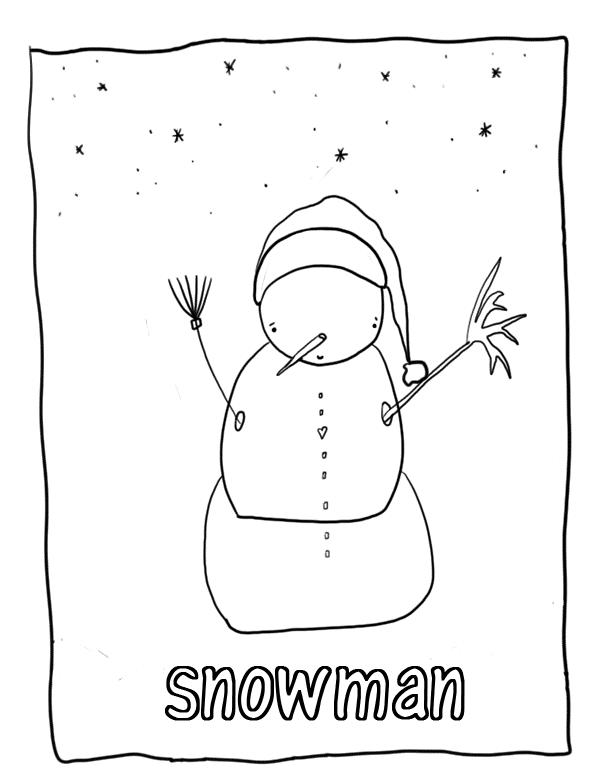 Snowman Free Winter Coloring Pages