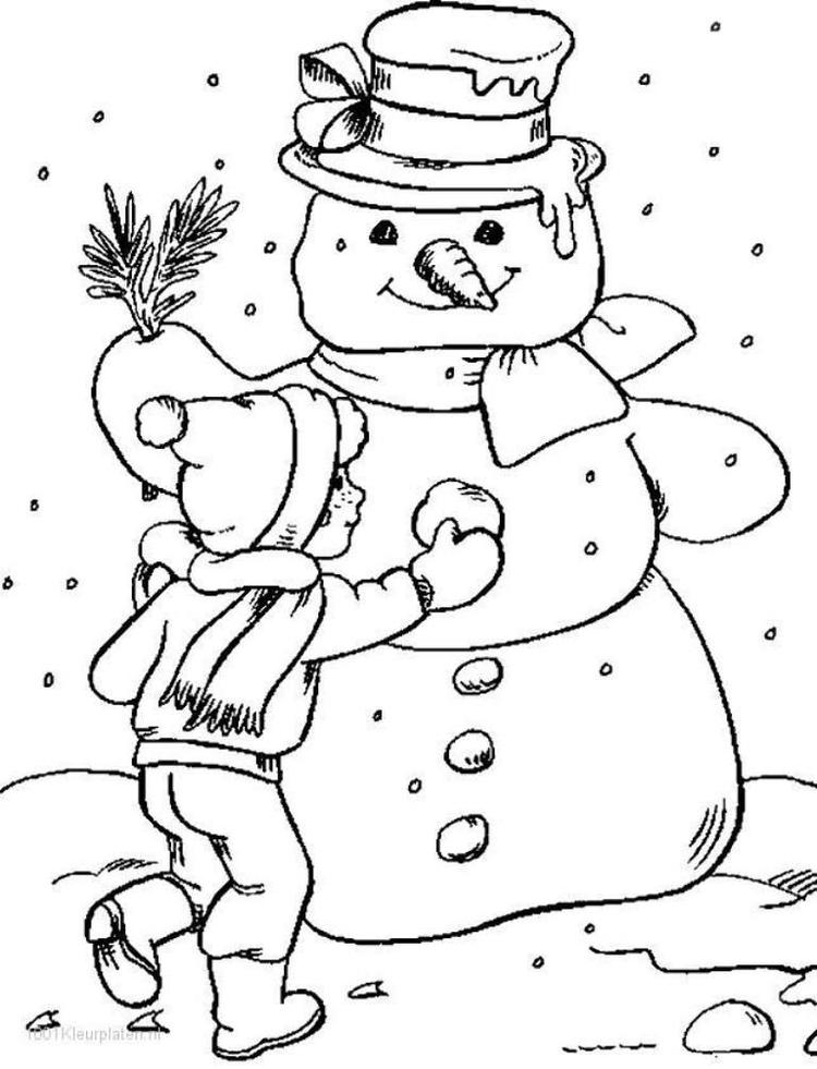 Snowman Winter Coloring Page