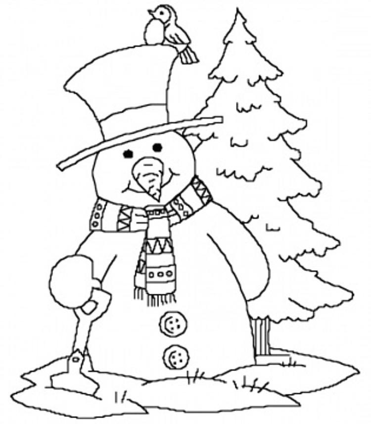 Snowman Winter Coloring Pages Free