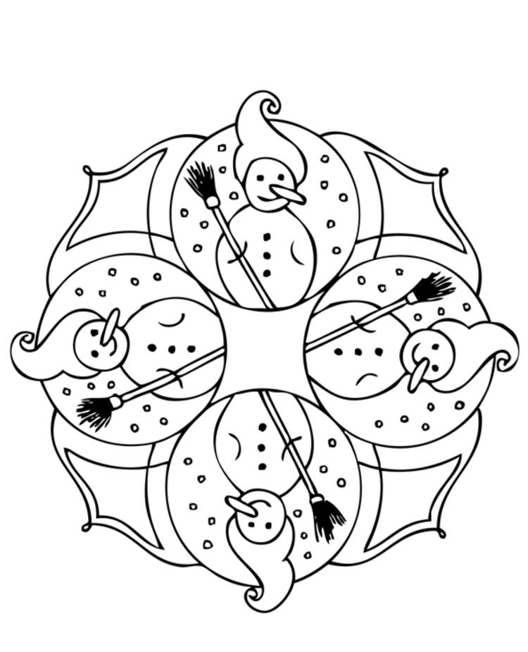 Snowman Winter Coloring Pages