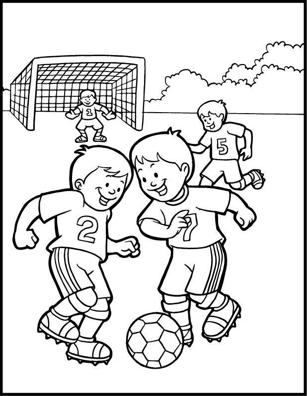 Soccer Coloring Pages Kids Playing Soccer