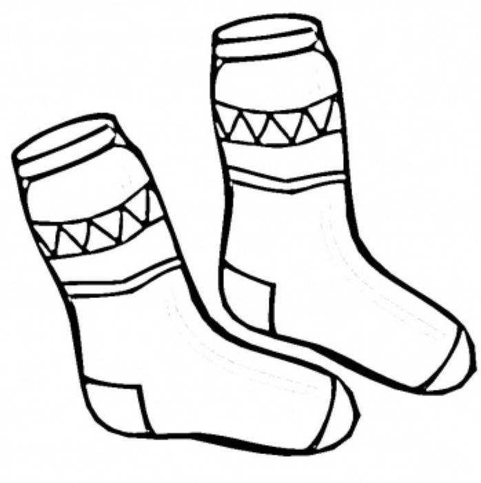 Socks Winter Clothes Coloring Page