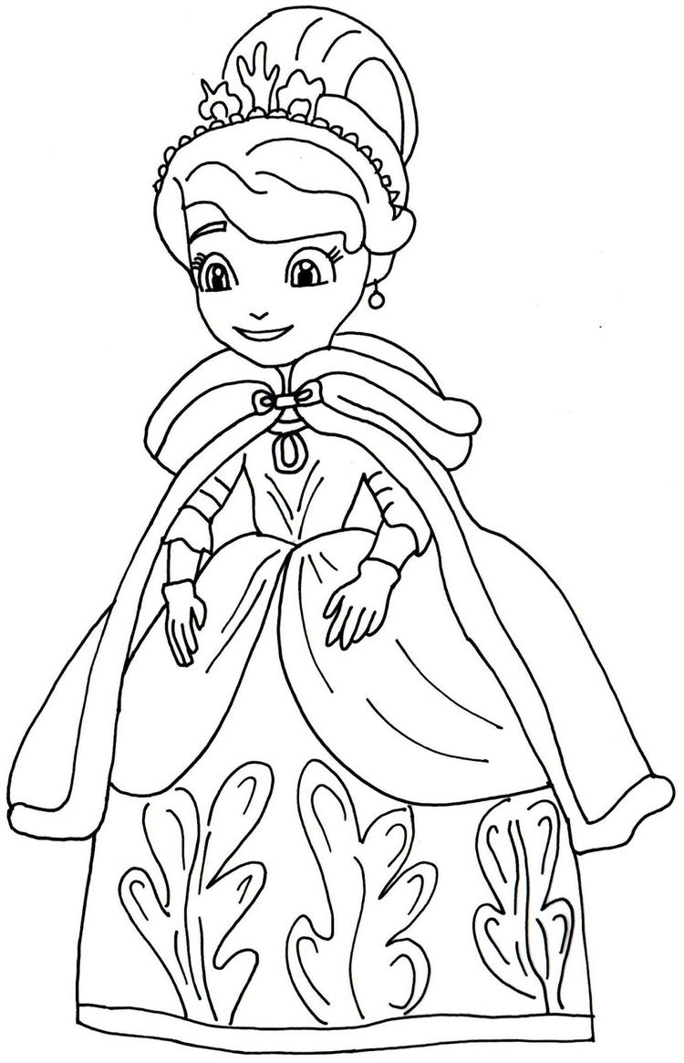 Sofia The First Coloring Pages Winter Dress