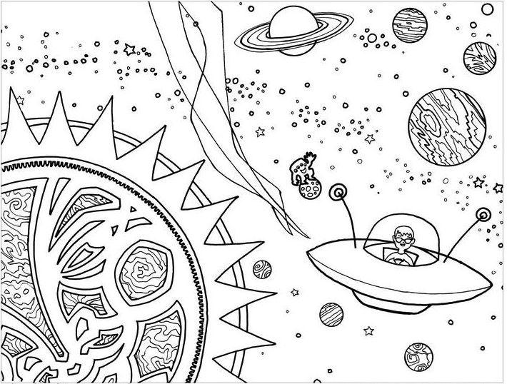 Solar System Coloring Sheets Ufo Coloring Page