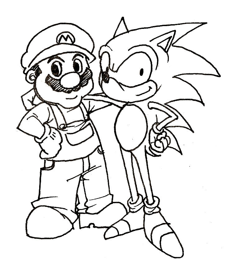 Sonic Coloring Pages And Mario Bros