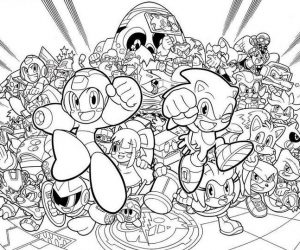 Sonic coloring pages mega man