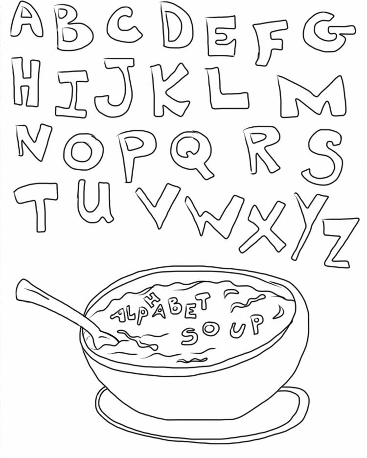 Soup Alphabet Coloring Pages Printable