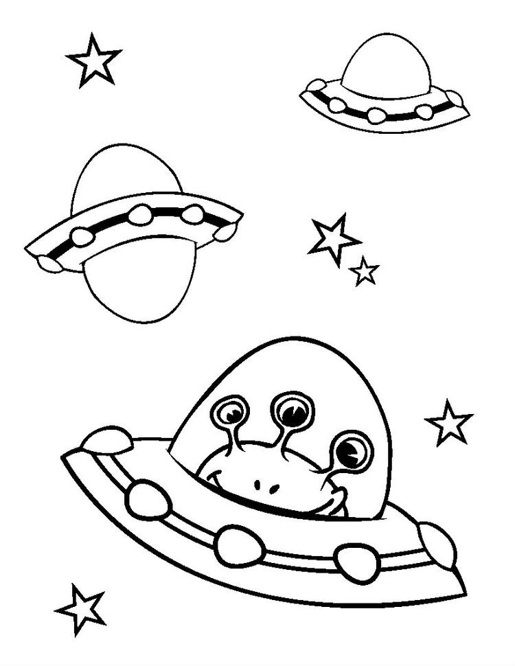 Space Coloring Pages Alien Spaceship