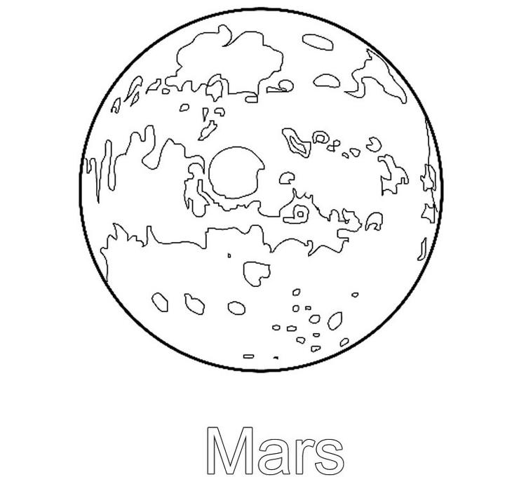 Space Coloring Pages Planet Mars