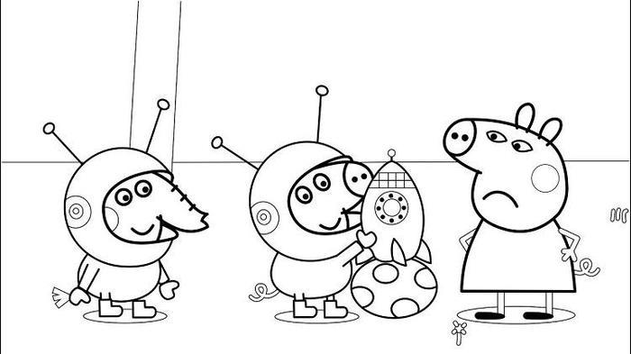 Space Peppa Pig Coloring Pages