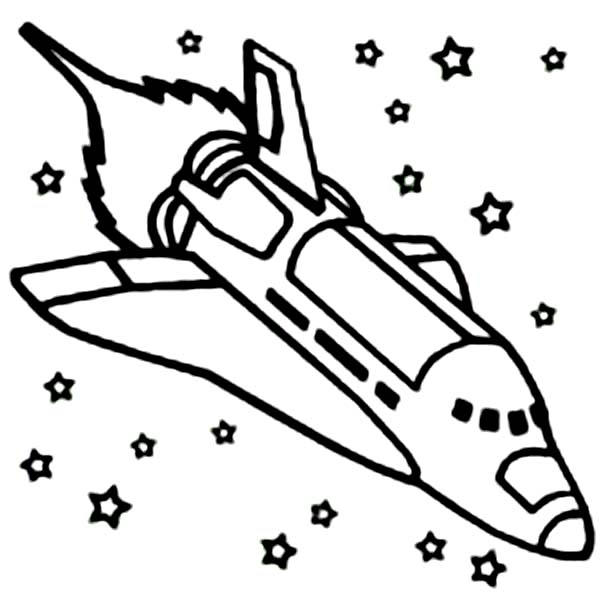 Space Shuttle Coloring Pages In Outer Space