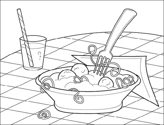 Spaghetti Pasta And Meatballs Coloring Pictures