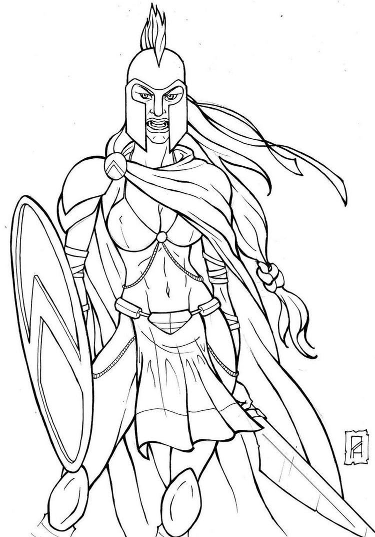 Spartan Girl Coloring Page