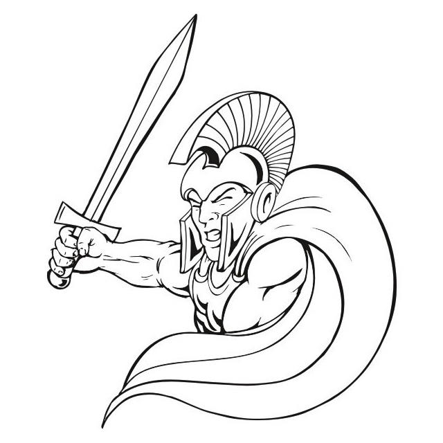 Spartan Soldiers Coloring Sheet