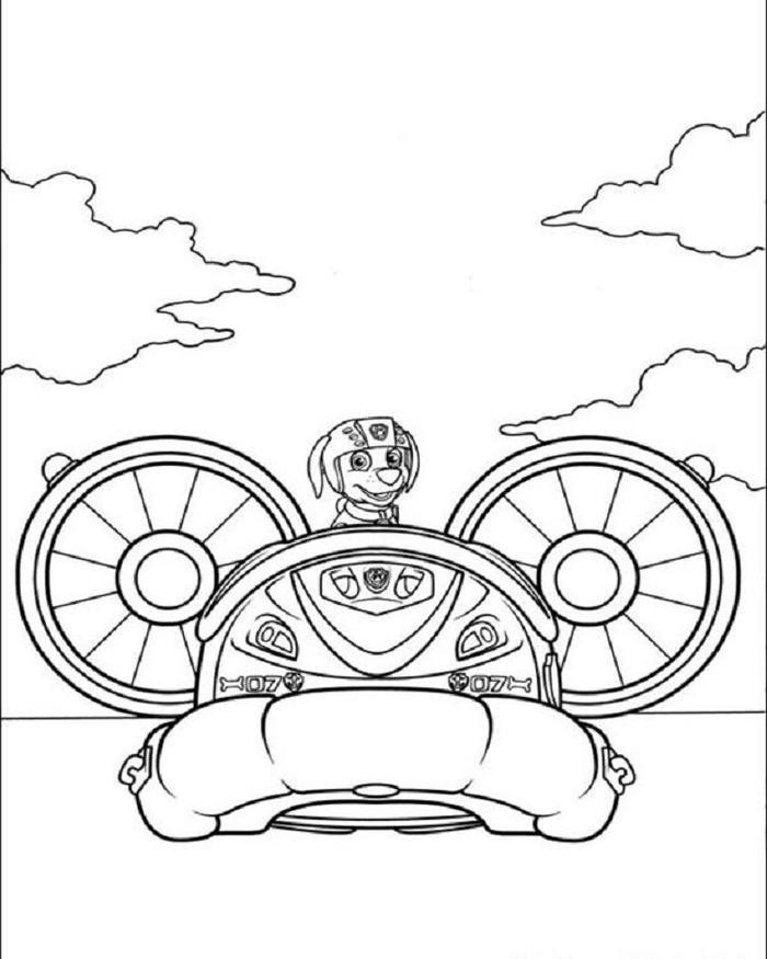 Speed Boat Paw Patrol Coloring Pages