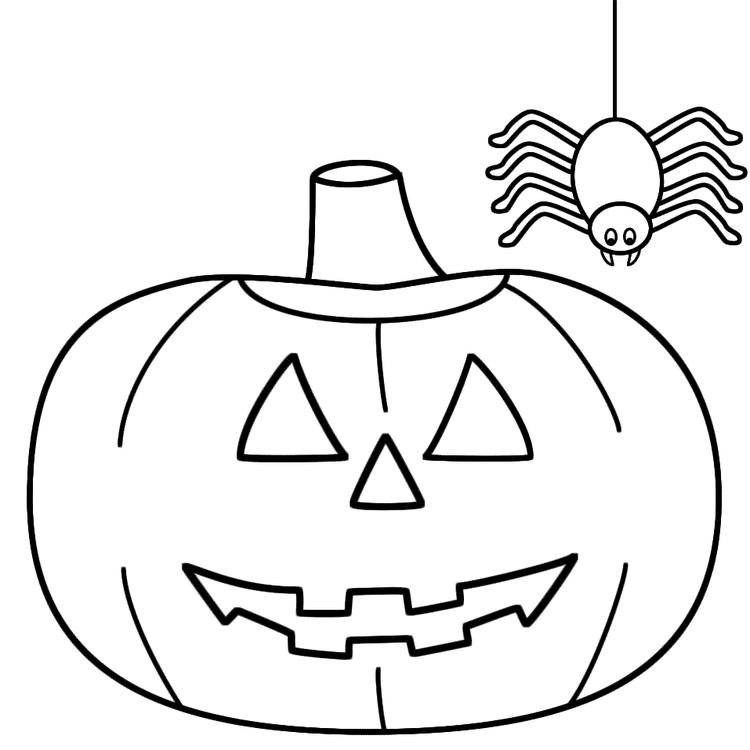 Spider Pumpkin Simple Halloween Coloring Pages