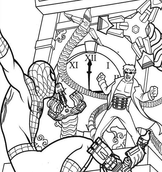 Spiderman And Dr. Octopus Coloring Pages