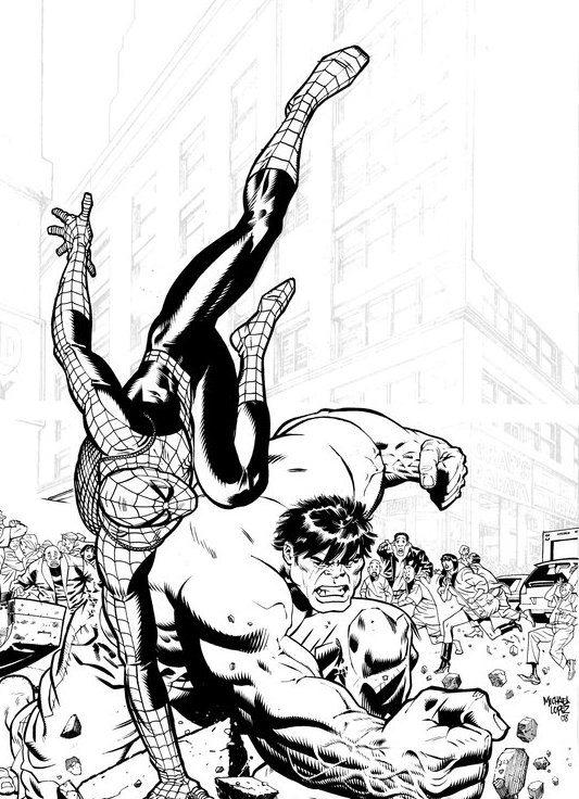 Spiderman And Hulk Coloring Pages