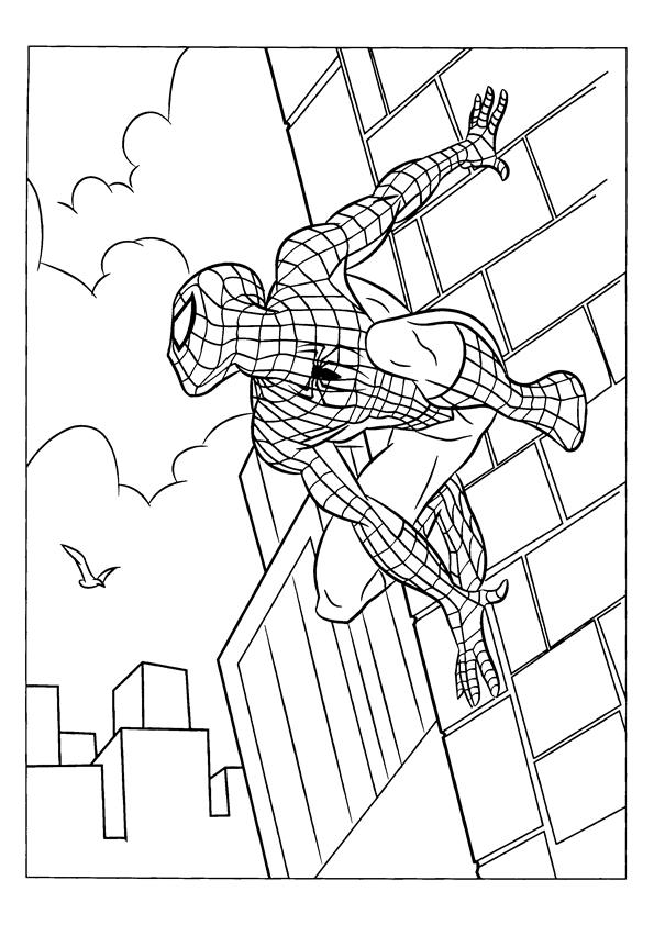 Spiderman coloring pages stick to the wall
