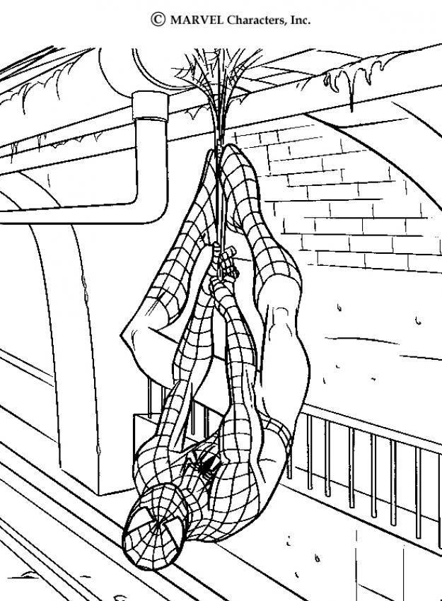 Spiderman Hanging On Railway Tunnel Spiderman Coloring Page