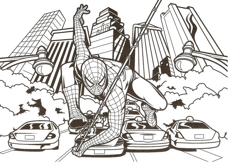 Spiderman In Action Coloring Pages