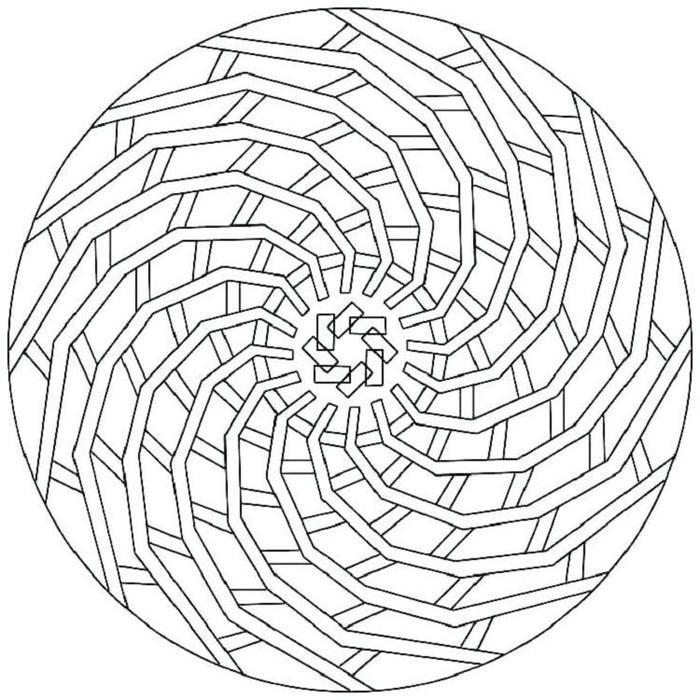 Spiral Geometric Coloring Pages
