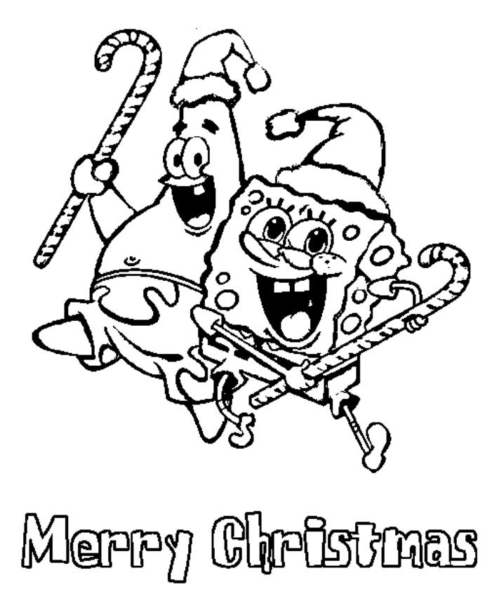 Spongebob And Patrick Merry Christmas Coloring Pages