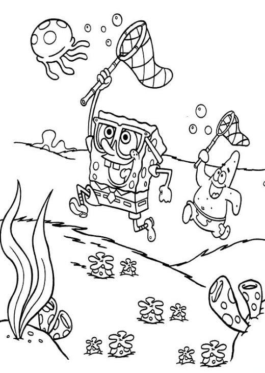Spongebob Hunting Jellyfish Coloring Pages