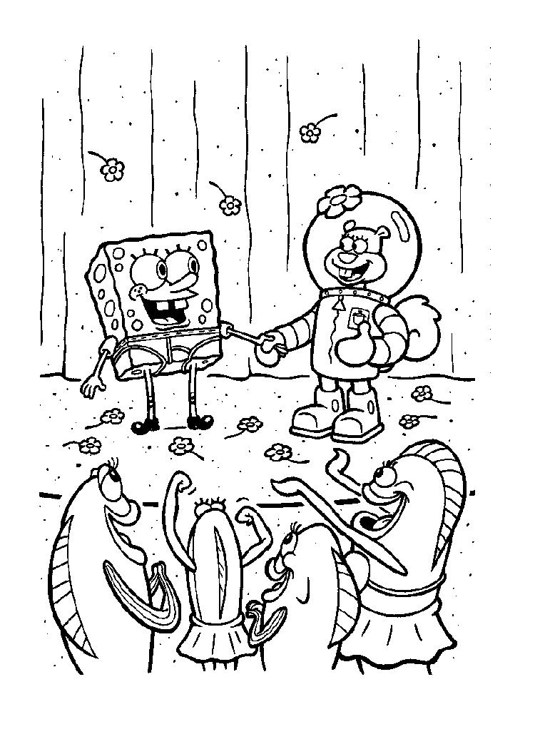 Spongebob Squarepants And Sandy On Stage Coloring Page