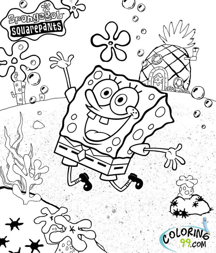 Spongebob And Gary Coloring Page 07
