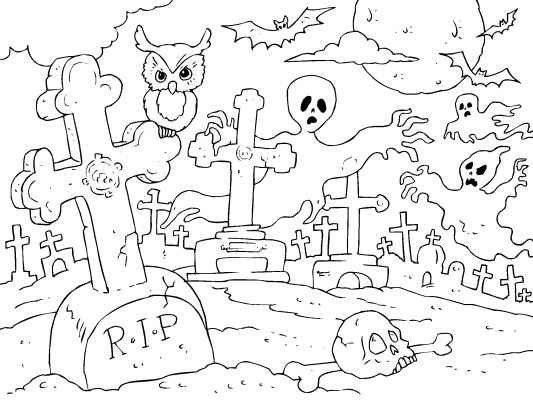 Spooky Graveyard Halloween Coloring Pages Free