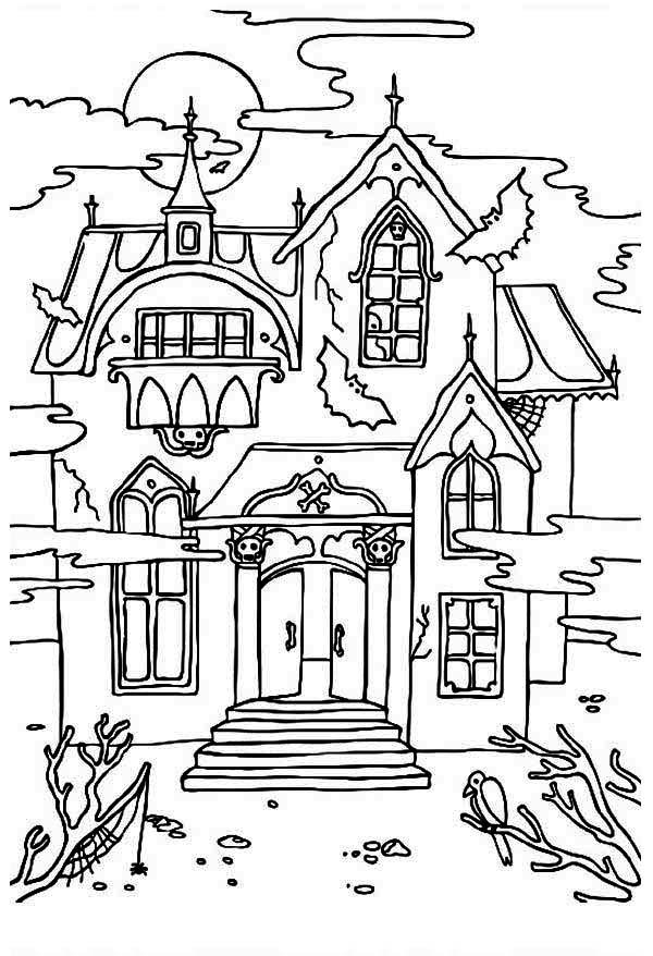 Spooky Haunted House Coloring Pages