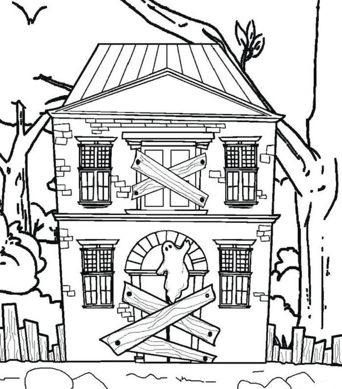 Spooky House Coloring Pages