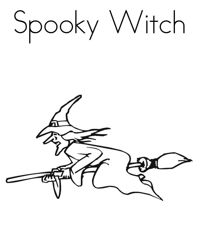 Spooky Witch Halloween Coloring Page