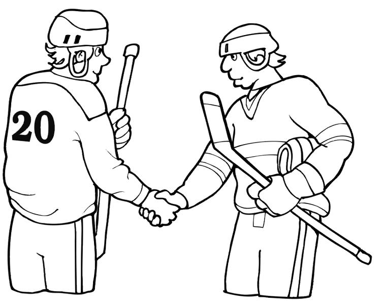 Sport Hockey Coloring Pages Shaking Hands