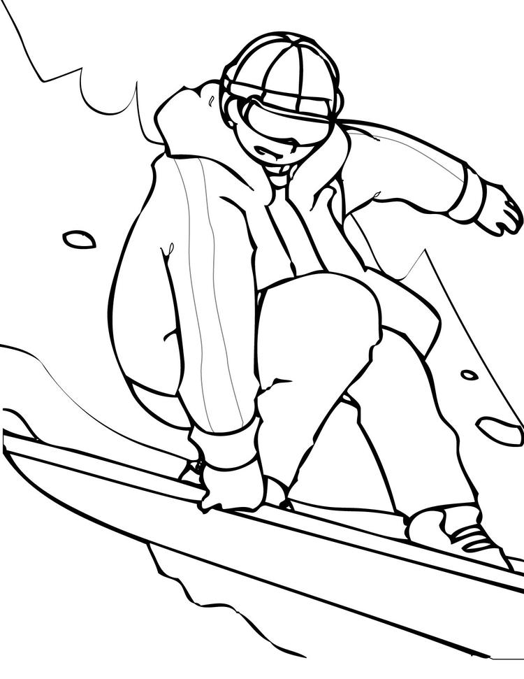 Sports Coloring Pages Snowboarding