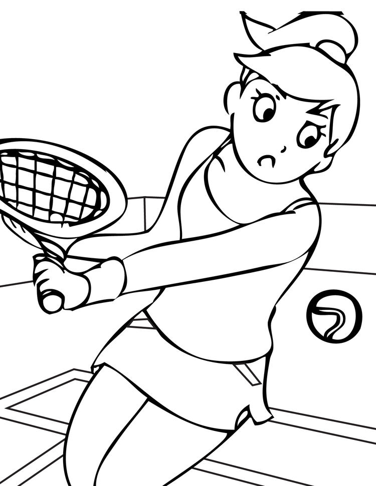 Sports Coloring Pages Tennis Women