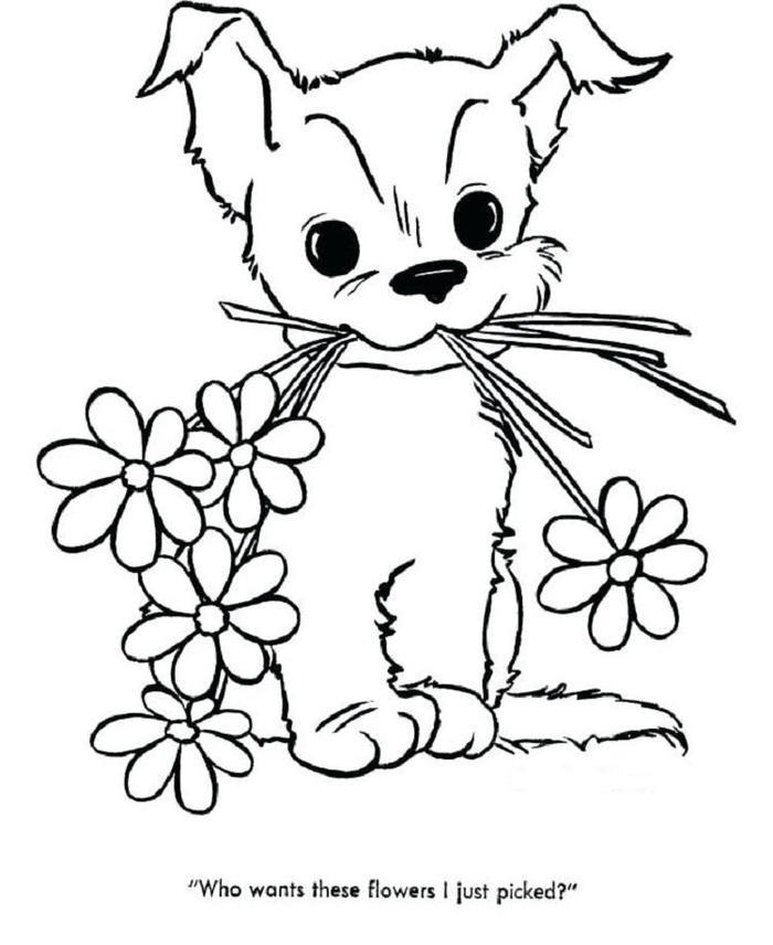 Spring Dog Coloring Pages