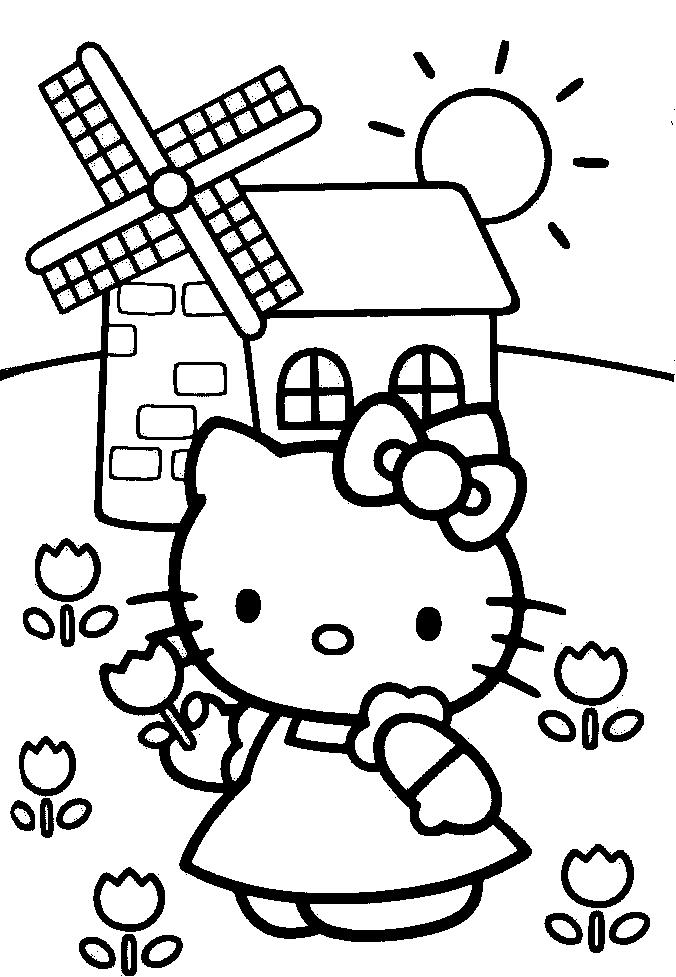 Spring Hello Kitty Colouring Pages To Colour