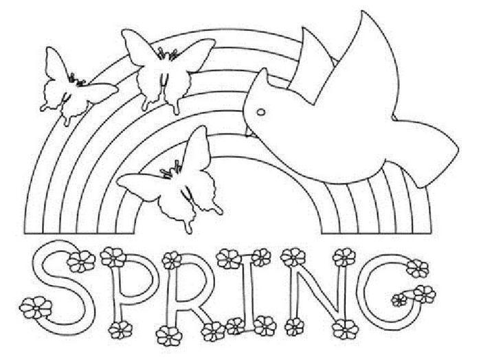 Spring Rainbow Coloring Pages