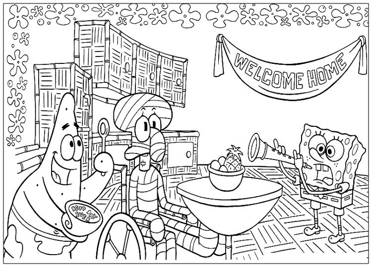 Squidward Welcome Home Spongebob Squarepants Coloring Page