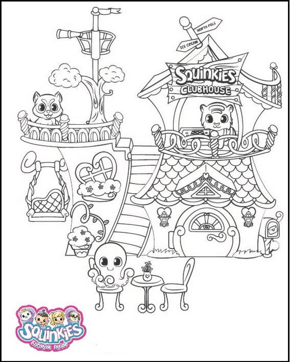 Squinkies Squinkieville Clubhouse Coloring Page