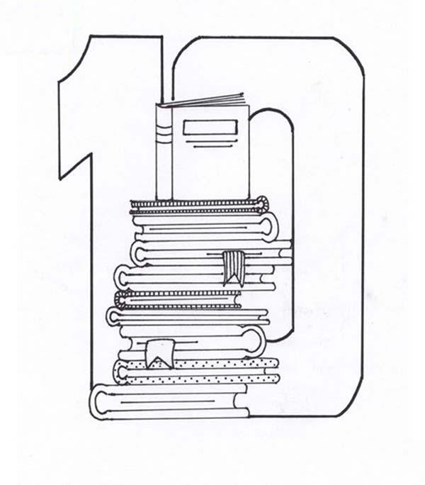 Stack Of Books For Number 10 Coloring Page
