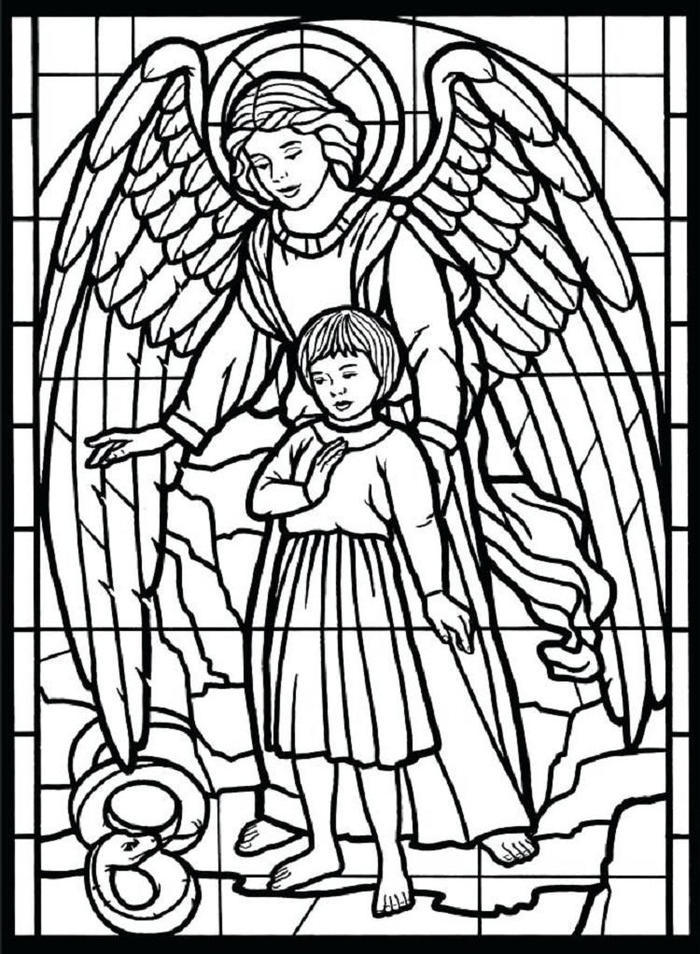 Stained Glass Angels Coloring Pages