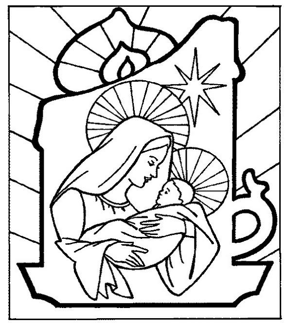 Stained Glass Baby Jesus Coloring Page To Print
