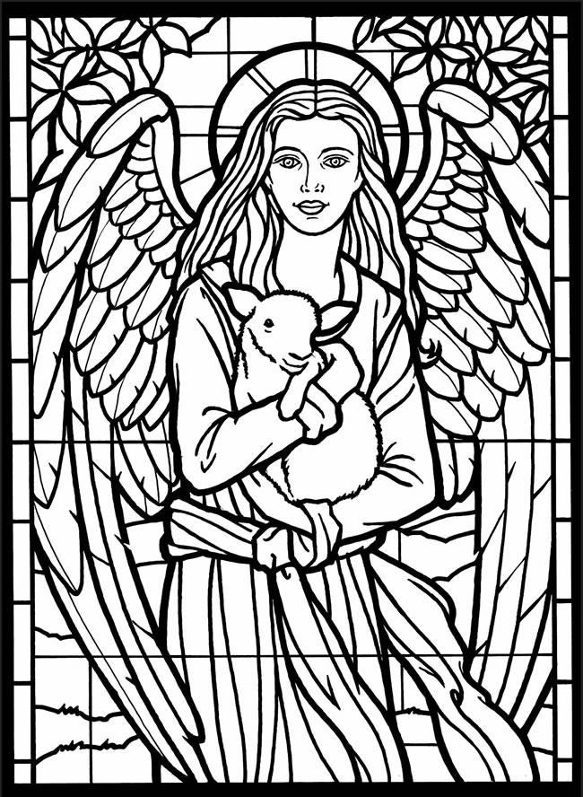 Stained Glass Coloring Pages Angel And Sheep
