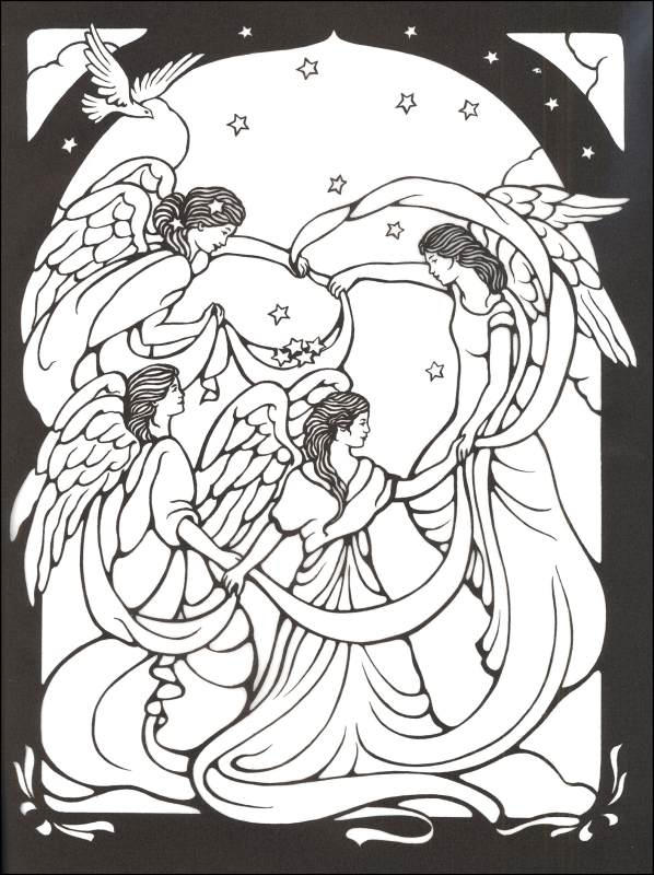 Stained Glass Coloring Pages Angels