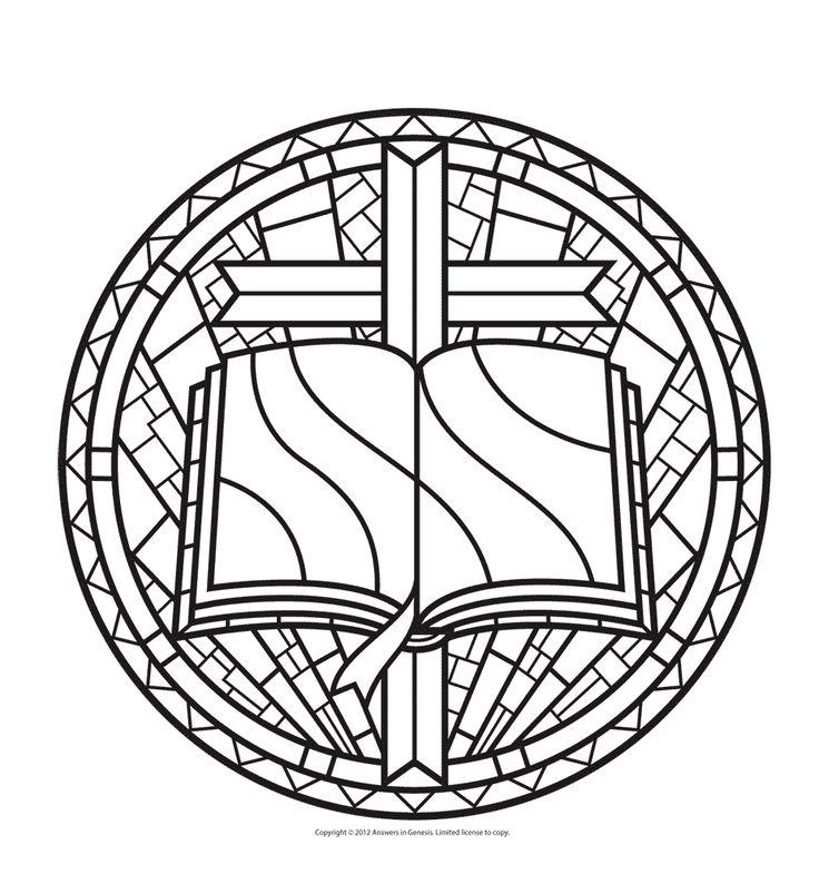 Stained Glass Coloring Pages Bible And Cross